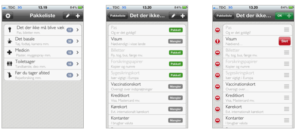 Screenshots fra applikation