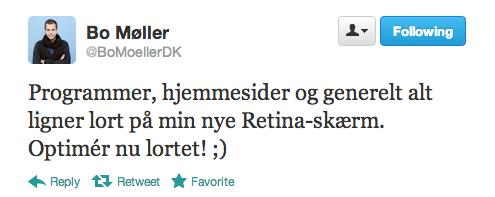 Tweet fra indehaver af ny Retina-skærm