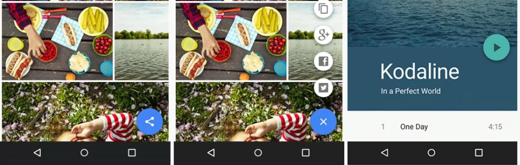 Eksempler på floating action buttons