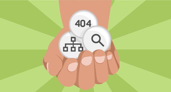 404-siden, intern søgning og site map