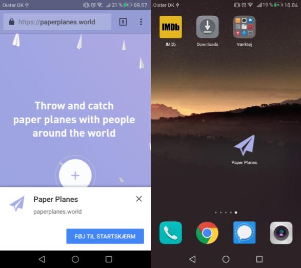Paper Planes på homescreen