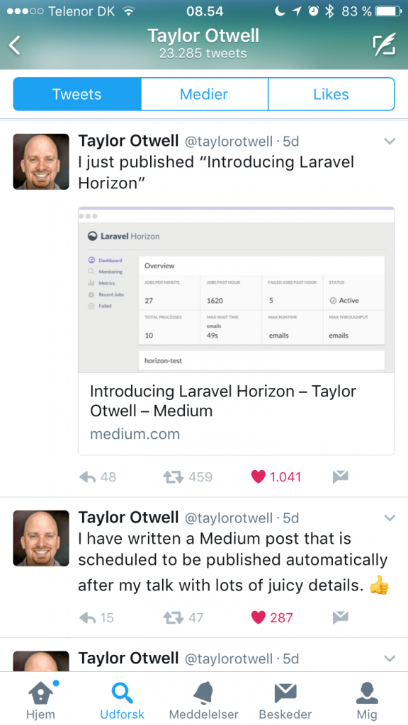Taylor Otwell Twitter