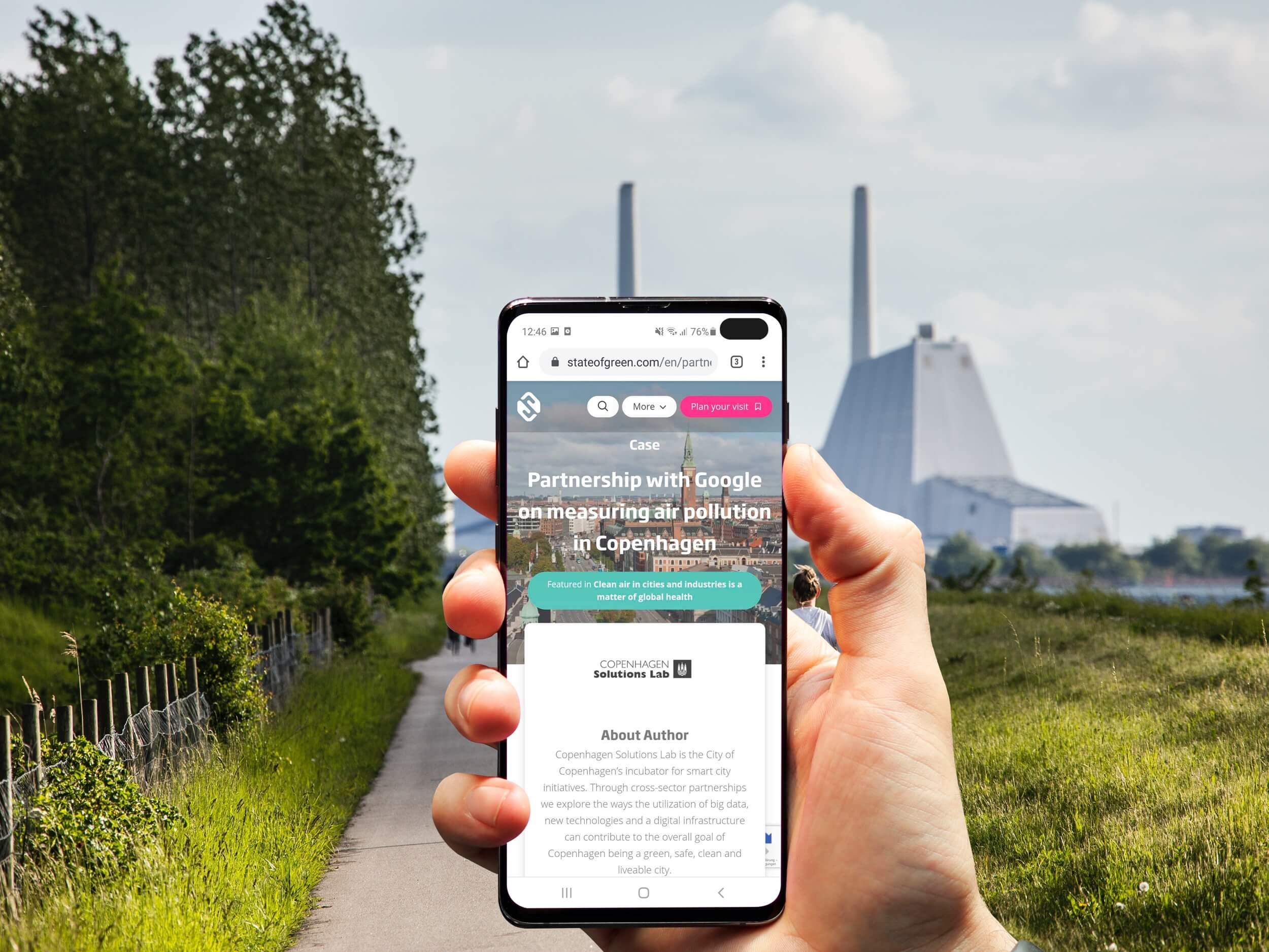 State of Green website på mobil